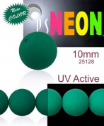 24 pcs Czech Glass Round Pressed Beads ESTRELA NEON (UV Active) Emerald Green 10 mm