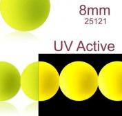 30 pcs Czech Glass Round Pressed Beads ESTRELA NEON (UV Active) Yellow 8 mm