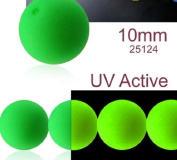 24 pcs Czech Glass Round Pressed Beads ESTRELA NEON (UV Active) Green 10 mm