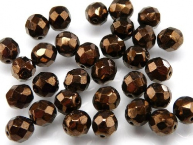 25pcs Czech Fire-Polished Faceted Glass Beads Round 8mm Jet Bronze