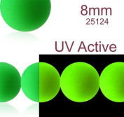 30 pcs Czech Glass Round Pressed Beads ESTRELA NEON (UV Active) Green 8 mm
