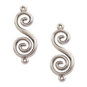 Nunn Design Antiqued Silver Plated Pewter Swirl Connector 33mm