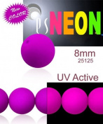 30 pcs Czech Glass Round Pressed Beads ESTRELA NEON (UV Active) Purple 8 mm