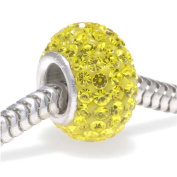 Sterling Silver Crystal Pave Bead -12x7.5mm- November Birthstone Citrine Colour