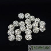10mm Top Quality Czech Crystal Rhinestones Pave Clay Round Disco Ball Spacer Beads,Clear