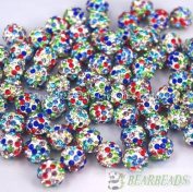 10mm Top Quality Czech Crystal Rhinestones Pave Clay Round Disco Ball Spacer Beads,Multicolour