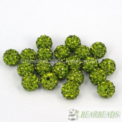 10mm Top Quality Czech Crystal Rhinestones Pave Clay Round Disco Ball Spacer Beads, Olivine