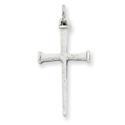Sterling Silver Antiqued Nail Cross Pendant