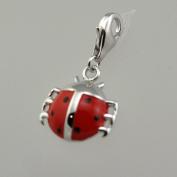 Silver & Enamel Lady Bug Charm to Hook on Any Charm Bracelet
