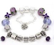 Silver Polished Purple I Love You Mom Mothers Day European Style Bracelet Premade With Charm Beads