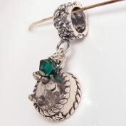 Birthday Cake May, Emerald. Crystal, Birthstone Sterling Silver Dangle Charm
