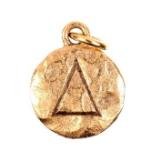 """Chelsea Hill Charm, """"Delta"""" Sorority Symbol 14K Gold-Plated Hammered Pewter Charm"""