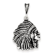 Sterling Silver Antiqued Indian Man Charm, Best Quality Free Gift Box Satisfaction Guaranteed