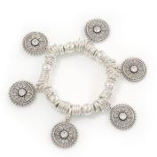 Silver Plated Metal Ring 'Indian Sun' Charm Flex Bracelet - 18cm Length