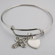 Adult Pewter Faith Bangle Bracelet with Four Way (4-Way) Medal & Heart Medal Charm