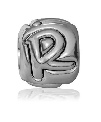 R - Bead, Single Alphabet Initial Letter for Name Bracelet, Capital, Uppercase R Charm Bracelet Bead, Embossed, Complete Alphabet and Numbers Available, Solid Sterling Silver