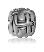 H - Bead, Single Alphabet Initial Letter for Name Bracelet, Capital, Uppercase H Charm Bracelet Bead, Embossed, Complete Alphabet and Numbers Available, Solid Sterling Silver