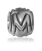M - Bead, Single Alphabet Initial Letter for Name Bracelet, Capital, Uppercase M Charm Bracelet Bead, Embossed, Complete Alphabet and Numbers Available, Solid Sterling Silver