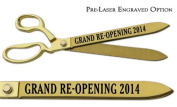 "Pre-Laser Engraved ""GRAND RE-OPENING 5120cm 38cm Gold Plated Ceremonial Ribbon Cutting Scissors"