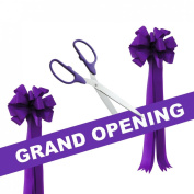 Grand Opening Kit - 60cm Purple/Silver Ceremonial Ribbon Cutting Scissors with 5 Yards of 15cm Purple Grand Opening Ribbon and 2 Purple Bows