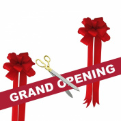 Grand Opening Kit - 50cm Gold Plated Handles Ceremonial Ribbon Cutting Scissors with 5 yards of 15cm Red Grand Opening Ribbon White Letters and 2 Red Bows