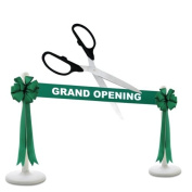 Deluxe Grand Opening Kit - 60cm Black/Silver Ceremonial Ribbon Cutting Scissors with 5 Yards of 15cm Green Grand Opening Ribbon, 2 Green Bows and 2 White Plastic Stanchions