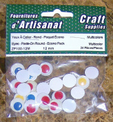 Eyes Paste on Round 12 Mm 24 Pieces Multicolour Arts & Crafts