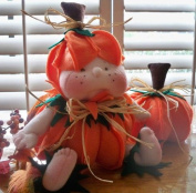 Cloth Holiday Pumpkin Doll Pattern with Instruction CD/128/Lil Punkin Head- 23cm -Baby in a Pumpkin-Made from Felt & Craft Velour