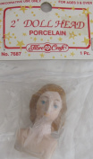 Fibre Craft PACK of 1 PORCELAIN DOLL HEAD 5.1cm w OPEN EYES & Moulded 'DARK' BLONDE HAIR