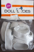 Zim's Craft PACK of 3 PAIRS of DOLL SHOES w Front STRAP Colo WHITE Size 5.1cm - 0.3cm Long x 2.5cm - 0.3cm Wide