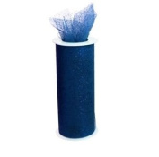 Glitter Navy Blue 15cm X 30 Ft (10 Yards) Tulle 100% Nylon