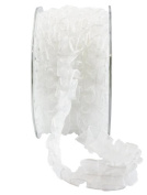May Arts 1.6cm Wide Ribbon, White Sheer Box Pleat