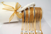 Old Gold Organza Ribbon With Satin Edge-25 Yards X 1cm