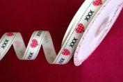 Bertie's Bows Polka Dot Heart & Kisses Grosgrain 16mm Ribbon on 3m Roll