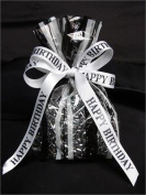 "Tanday #9219 White/Black ""Happy Birthday"" Satin Ribbon 1.6cm x 25 yards"