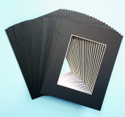 Pack of 25 sets of 8x10 BLACK Picture Mats Mattes Matting for 5x7 Photo + Backing + Bags