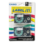 Label Printer Tape For CWL-300 - 9mm Tape, Black-On-Clear, 2 Pack