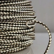 Genuine Leather 3mm Braided Bolo Cord Black & White Round