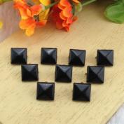 Come2Buy 100pc 9MM black Pyramid Studs Metal Claw Beads Nailhead Punk Stud Rivet Spike - black