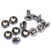 100 Sets Round Rivets Rapid Studs 6mm Silver