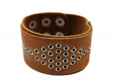 Brown Leather Cuff Bangle Bracelet with . Metal Holes Design
