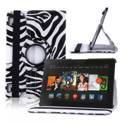 Generic 360 Degree Rotating Swivel Stand New Fashion Ultra Slim Slim-Fit Lightweight Zebra Print Pattern Design PU Leather Smart Case Cover with Auto Sleep / Wake Feature Corner Protection & Multi-Angle Viewing for Kindle Fire HDX 23cm Tablet 23cm HDX ..