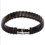 Leather Bracelet with Magnetic Steel Clasp Black and Brown