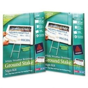 Ground Stake Sign Kit, 18 x 24, White, 2 Signs/Carton (AVE2708) Category