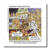 Londons Times Funny Dogs Cartoons - Dog Cultural Barriers - German Shepard and French Poodle - Iron on Heat Transfers