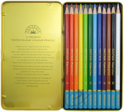 Premium Artist Quality Watercolour Pencils 12PC High Colour Concentration in Tin