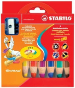 STABILO WOODY SET OF 6 colours AND SHARPENER