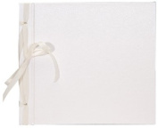Books by Hand BBHK140-5 Ribbon Bound 20cm by 20cm Scrapbook, White