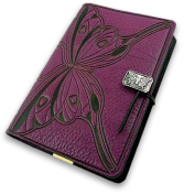 Purple Butterfly Embossed Leather Writing Journal, 15cm x 23cm , refillable