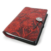 Wild Red Rose Embossed Leather Writing Journal, 15cm x 23cm , refillable